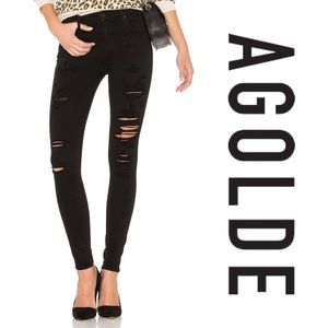 AGOLDE black ripped skinny jeans